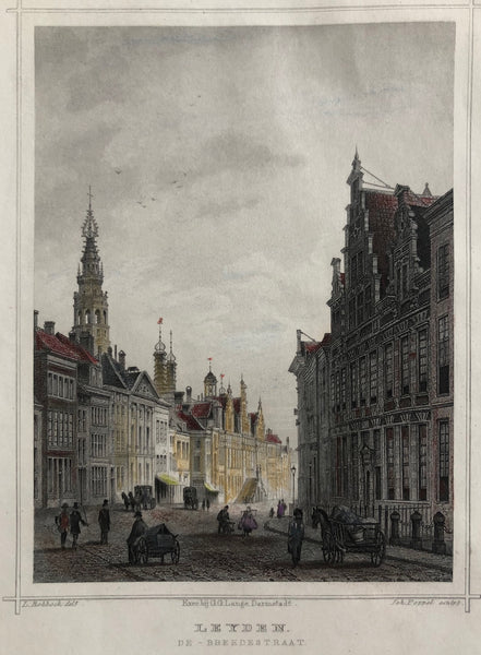 'Leyden. De - Breedestraat. Nice, handcoloured view of the Breestraat in Leiden. Steelengraving