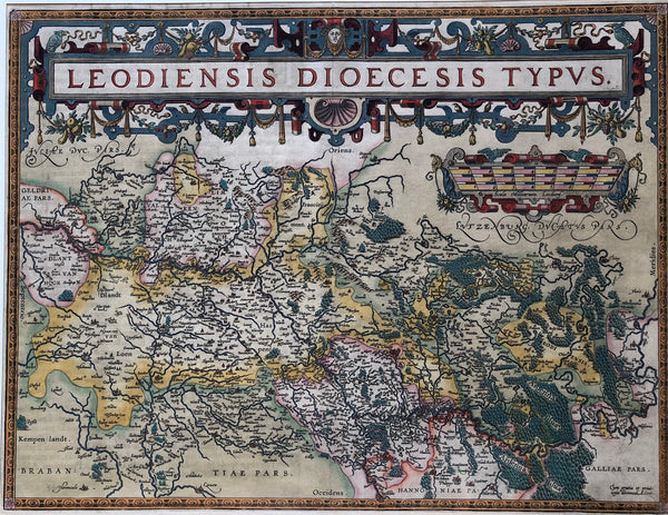 Ortelius, map, antique map, old map, colour, engraving, Belgium, Limburg, maas, liege, namur, maastricht, roermond, venlo, sittard, venray
