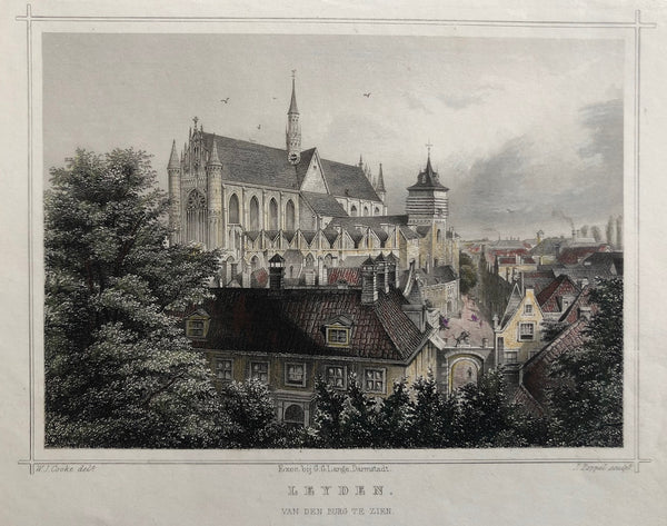 'Leyden. Van den Burg te zien'. Nice view at Leiden. Steelengraving with  delicate colouring. Drawn by W.J. Cooke, engraved by J. Poppel
