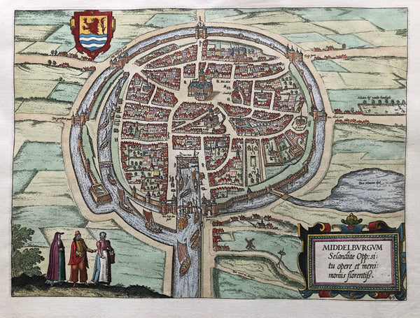 'Middelburgum. Selandiae Opp:si tu opere et merci Moniis florentis'  Nice , coloured, townplan of Middelburg in Zeeland. Engraved map by Guicciardini, published by Plantijn in 1581.