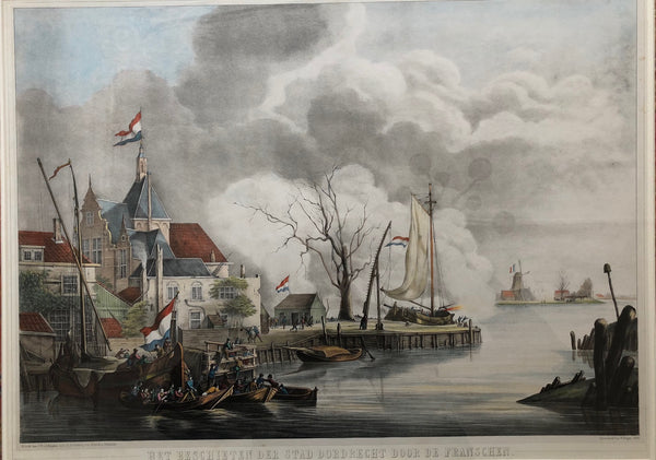 Schotel, dordrecht, ships, harbour, print, antique print, lithograph, french, battle, schouman, heijden, colour, november, 1813