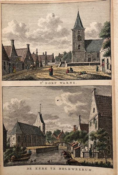 't Dorp Warns - De Kerk te Molkweerum  Handcoloured engraving, two views on one sheet. Drawn by Jan Bulthuis and engraved by K.F. Bendorp. Published in 1793