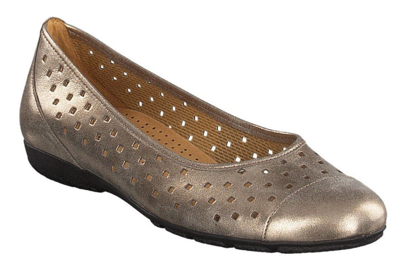 Gabor flat shoe metallic gold
