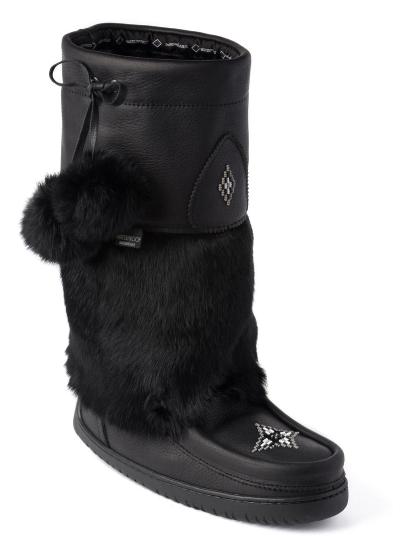 Snowy Owl Mukluk Black Leather