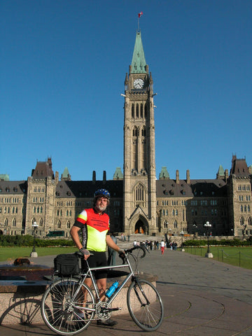 Rob Huntley and bike at Parliament Hill in Ottawa.