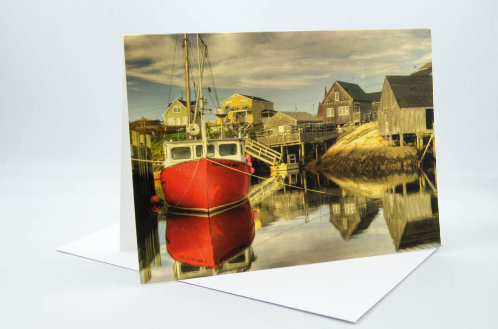 Greeting Card - Red boat tied to the wharf at Peggy's Cove, Nova Scotia.