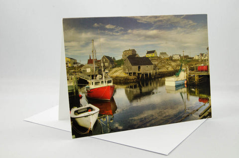 Greeting Card - showing the harbour at sunset at Peggy's Cove, Nova Scotia.