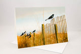 Grackles on a Fence - 2 - Greeting Card.