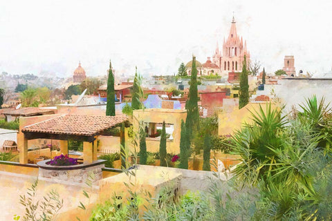 Rooftops and the Parroquia De San Miguel Arcángel, Mexico - Greeting Card.