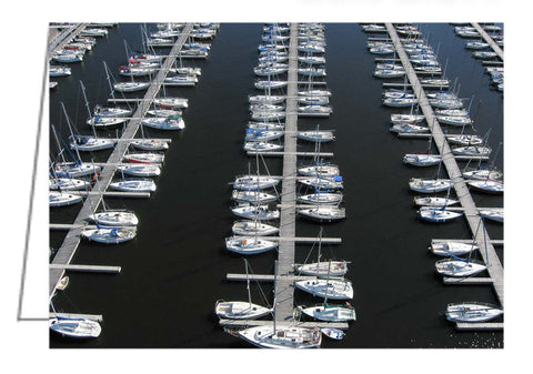 Greeting Card with an aerial view of moored sailboats at Nepean Sailing Club in Ottawa, Ontario.