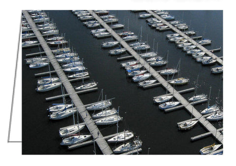 Sailboats at Rest - Aerial view of sailboats at Nepean Sailing Club at Dick Bell Park in Ottawa, Ontario, Canada.