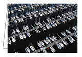 Greeting card showing an aerial view of boats at the docks of Nepean Sailing Club in Ottawa, Ontario.