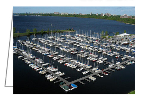 Aerial view of sailboats at Nepean Sailing Club at Dick Bell Park in Ottawa, Ontario, Canada.