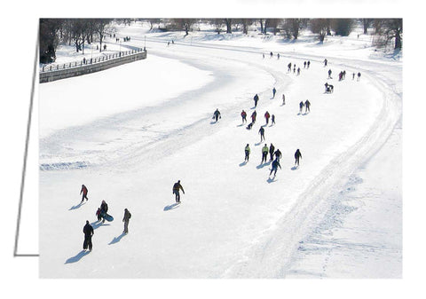 Greeting card from a photo of skaters on Dows Lake, Ottawa