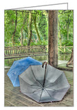 A photo greeting card - Umbrellas drying under a pagoda in China.