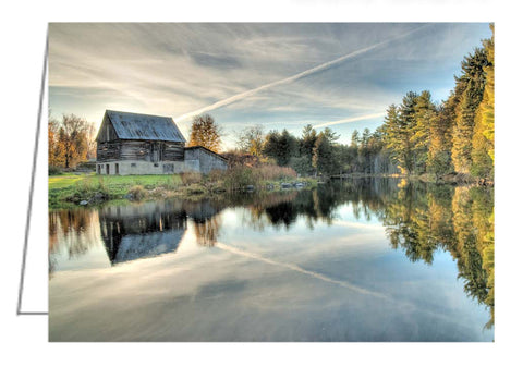 Barn on Mill Pond, Waba Creek - Greeting Card