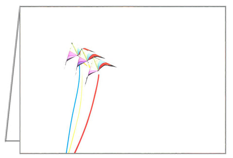 Greeting Card showing a stunt kite with a long tail on a white background.