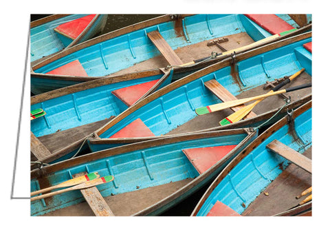A photo greeting card of boats available for hire on the canal in Oxford, UK.