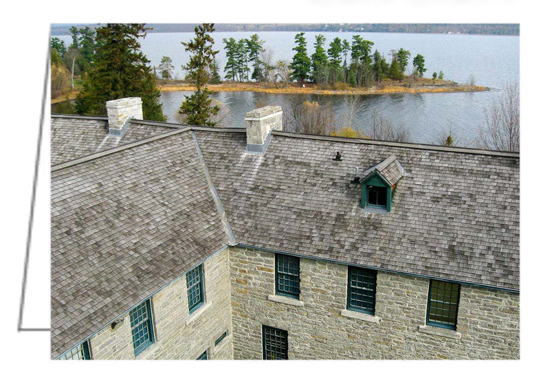 Greeting Card showing an aerial photograph of Pinhey's Point, Heritage Property, on the Ottawa River.