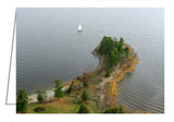 Greeting card showing a sailboat sailing around Pinhey's Point, Ontario