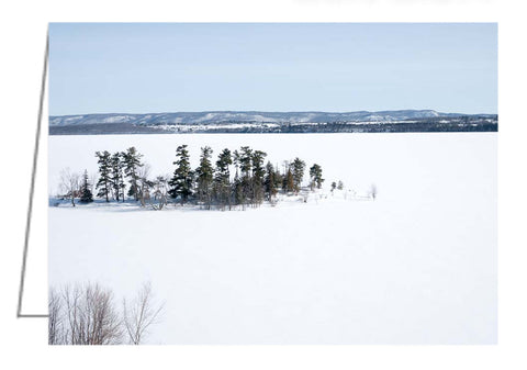 Greeting card showing an aerial winter landscape view of Pinhey's Point, Ontario. Pinhey's Point is just outside of Ottawa, Ontario nearby the village of Dunrobin, Ontario.