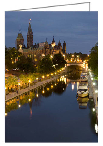 Greeting Card - Rideau Canal and the Parliament Buildings at Night.