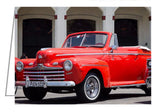 A photo greeting card - Vintage 1947 Ford Super Deluxe Convertible in Havana, Cuba. Havana Street Scene.
