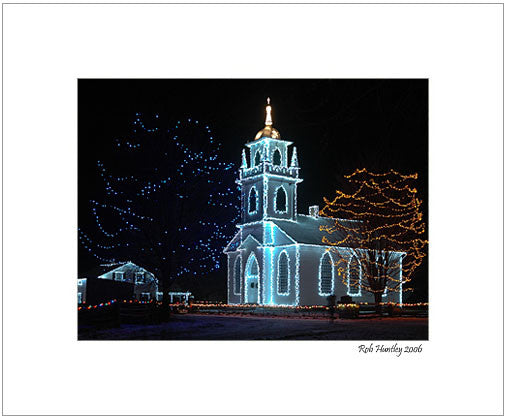 The Church - Alight At Night. Upper Canada Village - 8x10 Matted Print