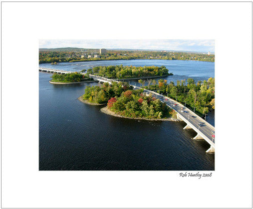 Matted Print - Aerial view of the Champlain Bridge crossing the Ottawa River at Island Park Drive in Ottawa, Ontario.
