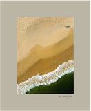 Matted Print - A straight down aerial photograph showing the wet and dry contour lines of a beach and the surf and a couple with long shadows walking along the shoreline.