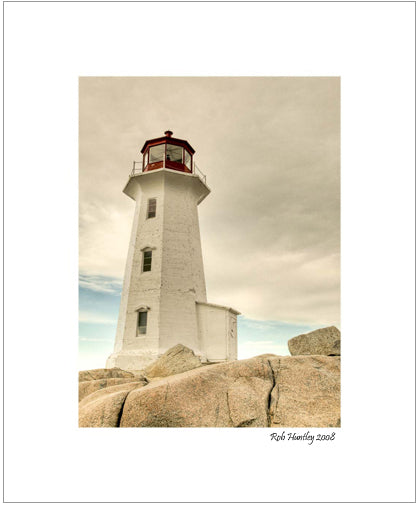 The Lighthouse, Peggy's Cove. This print is developed from a photograph taken at Peggy's Cove, Nova Scotia.