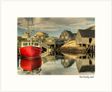Matted Print - Red Boat - Peggy's Cove. This print is developed from a photograph taken at the Harbour, Peggy's Cove, Nova Scotia.