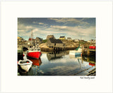 This print is developed from a photograph taken at the Harbour, Peggy's Cove, Nova Scotia. The sun was setting and the light was wonderful. The image was created from three exposures combined through HDR processing.