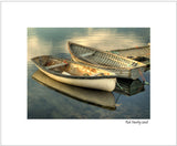 Matted Print - Two boats at Peggy's Cove. This print is developed from a photograph taken at the Harbour, Peggy's Cove, Nova Scotia. The sun was setting and the light was wonderful. The image was created from three exposures combined through HDR processing.