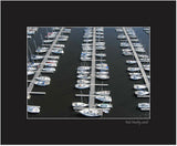 Matted Print - An aerial view of moored sailboats at Nepean Sailing Club in Ottawa, Ontario. Kite Aerial Photography.