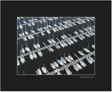 Matted Print - Aerial view of boats at the docks of Nepean Sailing Club in Ottawa, Ontario.
