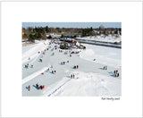 Matted Print - from a photo of skaters on Dows Lake, Ottawa.