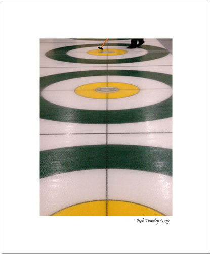 Matted Print - Stacked Rings. Curling action at the Granite Curling Club of West Ottawa.