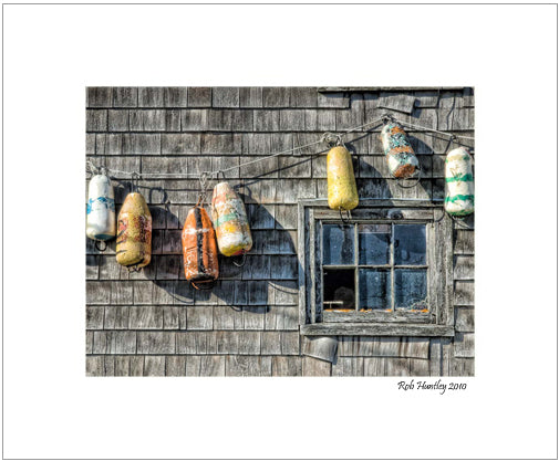 Buoys on a Wall, Peggy's Cove. 8x10 matted print.