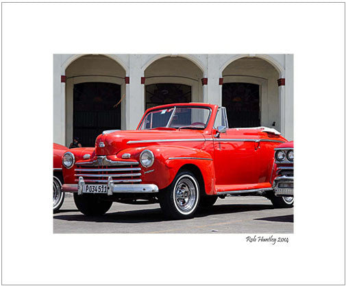 Vintage 1947 Ford Super Deluxe Convertible in Havana, Cuba - 8x10 Matted Print