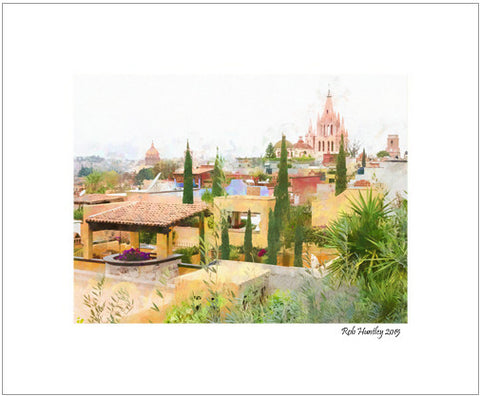 Rooftops and the Parroquia De San Miguel Arcángel, Mexico - 8x10 Matted Print.