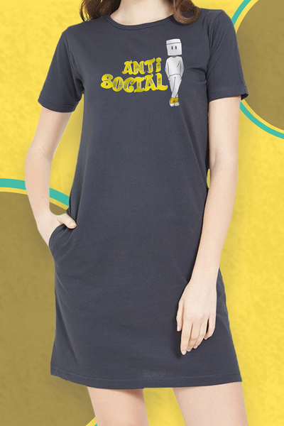 Anti-Social Half Sleeves T-Shirt Dress