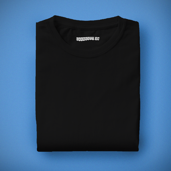 Solid Black Half Sleeves T-Shirt