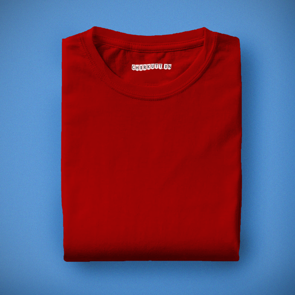 Solid Cherry Red Half Sleeves T-Shirt