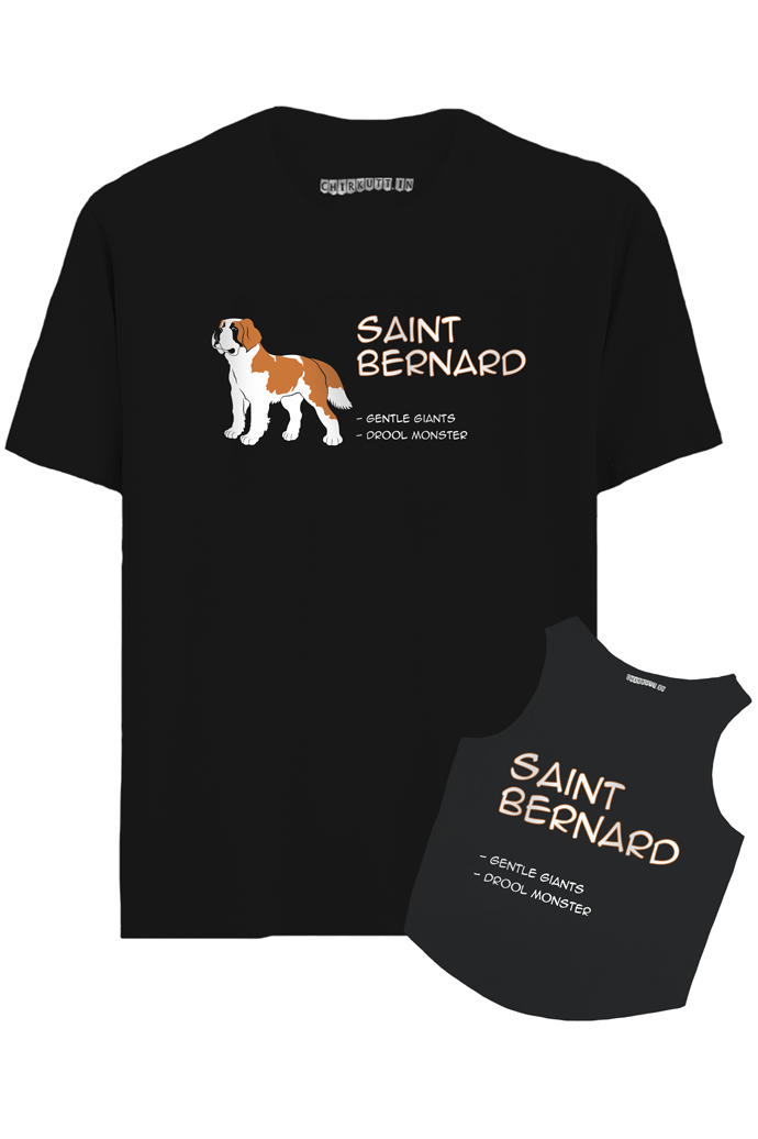 Saint Bernard Hooman And Dog Combo T-Shirt