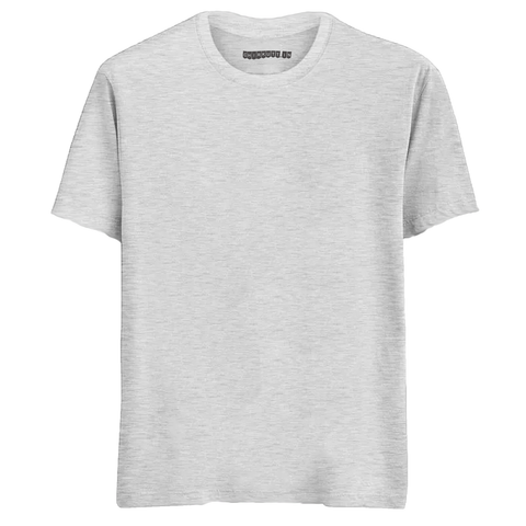 Solid White Melange Half Sleeves T-Shirt