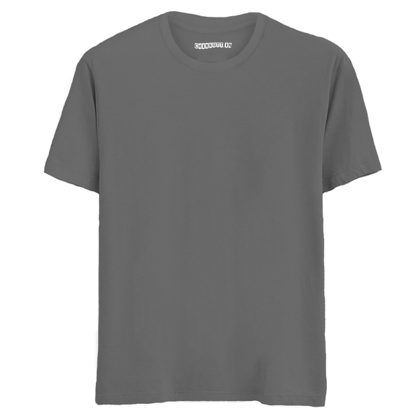 Solid Steel Grey Half Sleeves T-Shirt