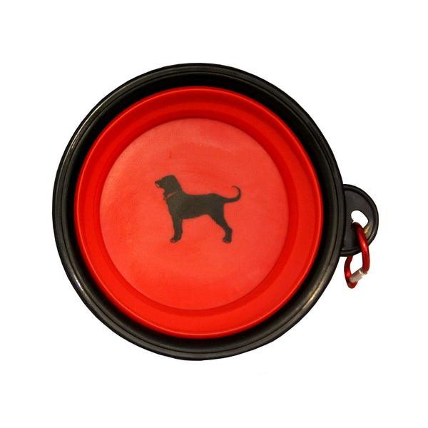 Black Dog Feeding Bowl with Carabiner