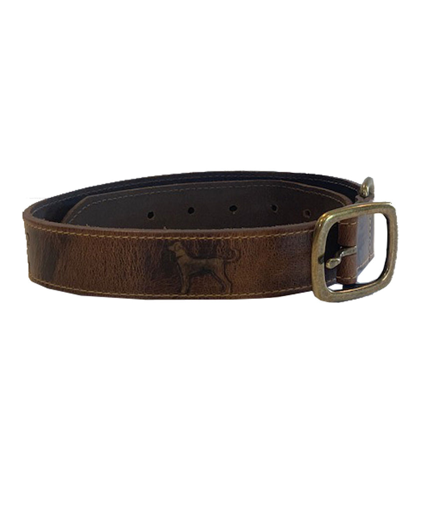 Embossed 1.25 Inch Leather Collar