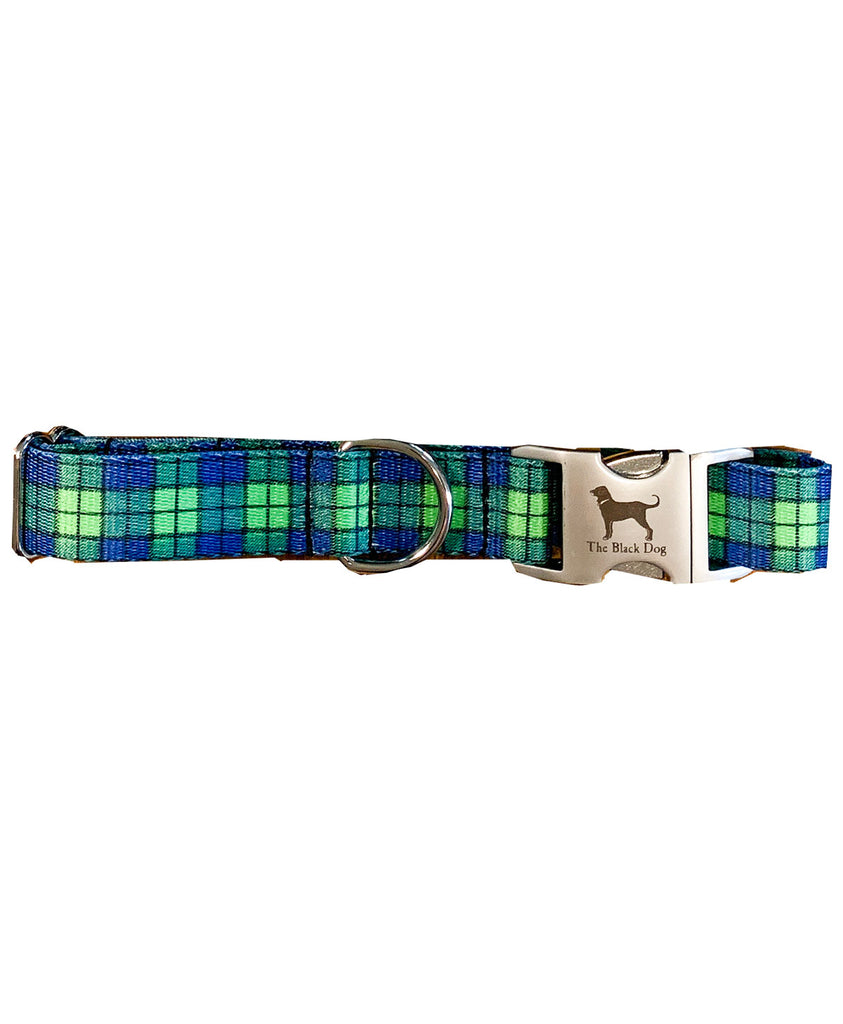 Blue and Green Plaid Web Collar